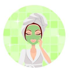 Scrubbing girl applying a face scrub vector