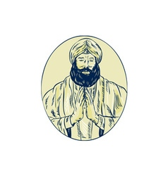 Sikh priest praying front oval etching vector