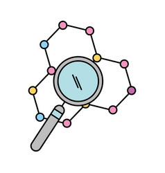 structure molecular with magnifying glass vector image