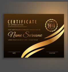 stylish premium certificate design in golden color vector image vector image