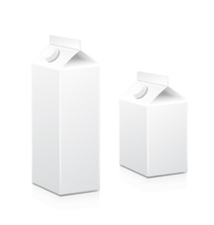 Milk and juice white carton boxes packages with vector