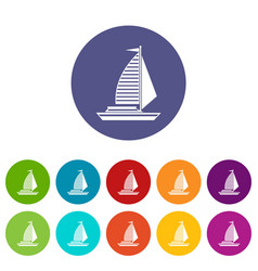 Yacht with sails set icons vector