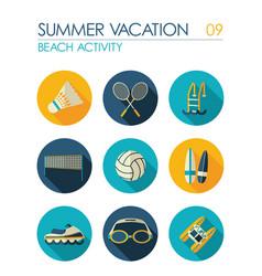 beach activity flat icon set summer vacation vector image