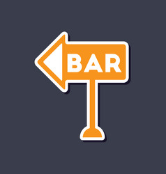 paper sticker on stylish background bar sign vector image