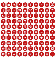 100 hobby icons hexagon red vector