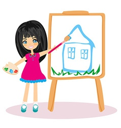 Little artist girl painting her dream house on vector