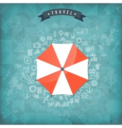Beach umbrella web flat icon old vintage travel vector