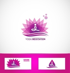 Yoga meditation lotus flower logo vector