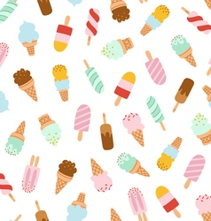 Assorted ice cream seamless pattern vector