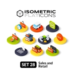 Isometric flat icons set 28 vector