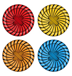 Set of sewing buttons red orange blue and yellow vector