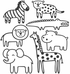 Animals in black and white vector image vector image