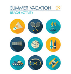 Beach activity flat icon set summer vacation vector