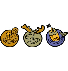 Beaver moose and trout vector image vector image