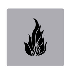Blue emblem fire icon vector