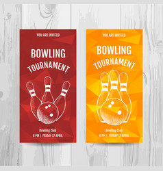 Bowling party invitation card sport tournament vector
