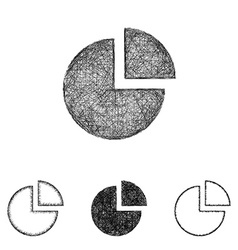 Chart icon set - sketch line art vector