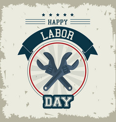Colorful emblem of happy labor day with crossed vector