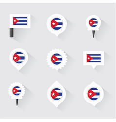 Cuba flag and pins for infographic and map design vector
