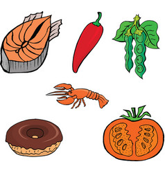cutting fishred pepperlobsterdonutPeasCutting toma vector image