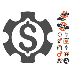 financial development gear icon with valentine vector image vector image