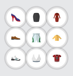 Flat clothes set of sneakers stylish apparel vector