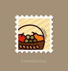 fruit basket stamp harvest thanksgiving vector image