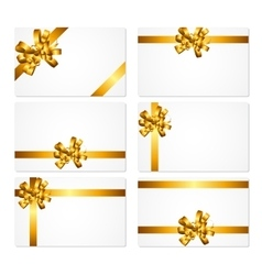 Gift Card with Gold Bow and Ribbon Set vector image vector image