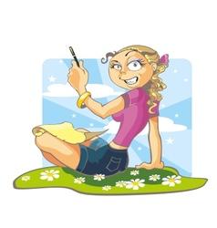 Girl writes greetings vector