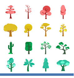 iicon set of many color trees vector image vector image
