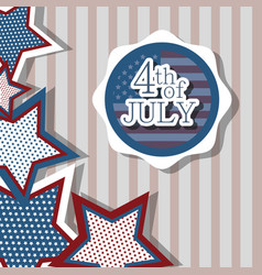 Independence day with emblem and stars design vector