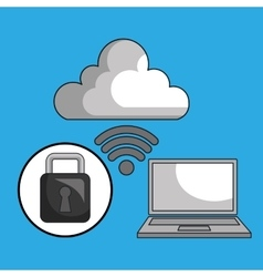 laptop cloud wifi padlock vector image