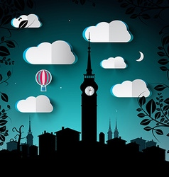 Night Landscape with City and Tower Silhouette and vector image