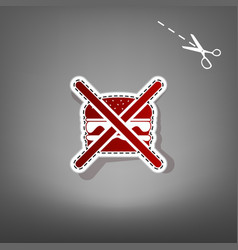 No burger sign red icon with for applique vector