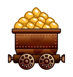 Old mine cart with gold vector