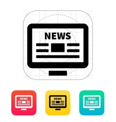 Online news desktop pc newspaper icon vector