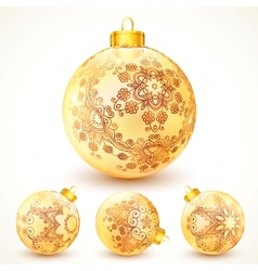 Ornate vintage golden christmas balls set vector