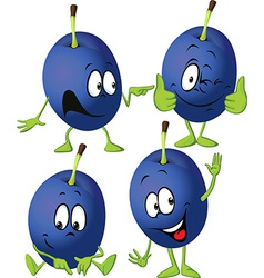 plum cartoon with hands and legs standing isolated vector image vector image
