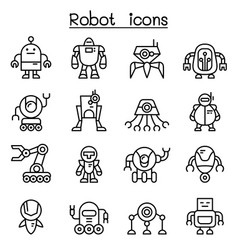 robot icon set in thin line style vector image vector image