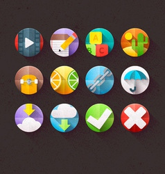 Textured Flat Icons for mobile and web Set 4 vector image vector image