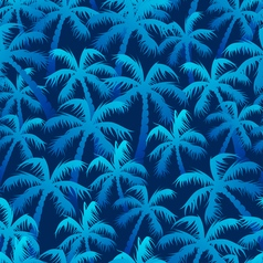 Tropical blue palm forest in a seamless pattern vector