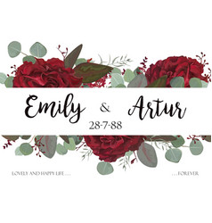 wedding invite invitation with red roses vector image vector image
