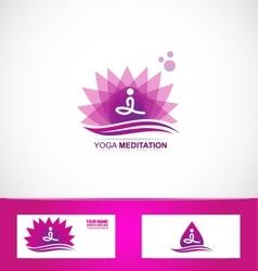 Yoga meditation lotus flower logo vector