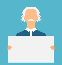 Teacher holding a large clean banner vector