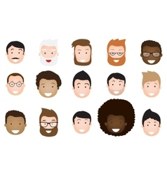 Male avatar icons set vector image