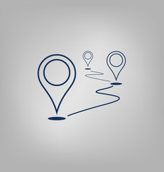Flat route location icon concept of path vector