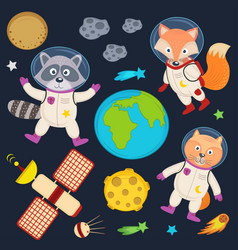 Set of animals in space part 1 vector