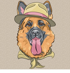 Hipster dog breed german shepherd vector