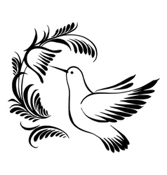 Decorative silhouette hummingbird in flight vector