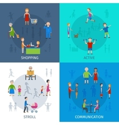 People daily situation icon set vector